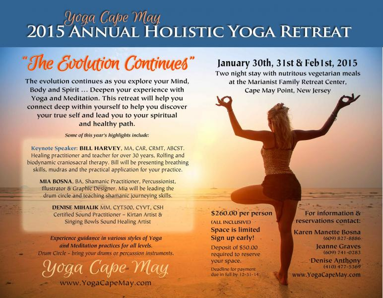 YOGA CAPE MAY - ANNUAL HOLISTIC YOGA RETREAT at the Marianist Family Retreat Center, Cape May Point, NJ