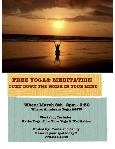 Free Yoga & Meditation workshop Turn down the noise in your mind