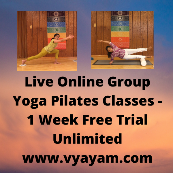 Online Live Group Yoga Pilates with Vidya Nahar - One Week Free